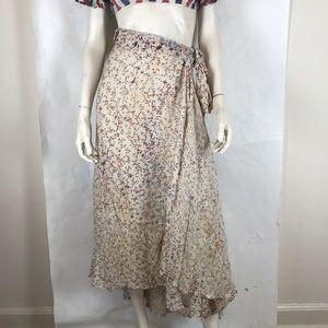 Vtg deadstock 70s calico prairie wrap maxi skirt